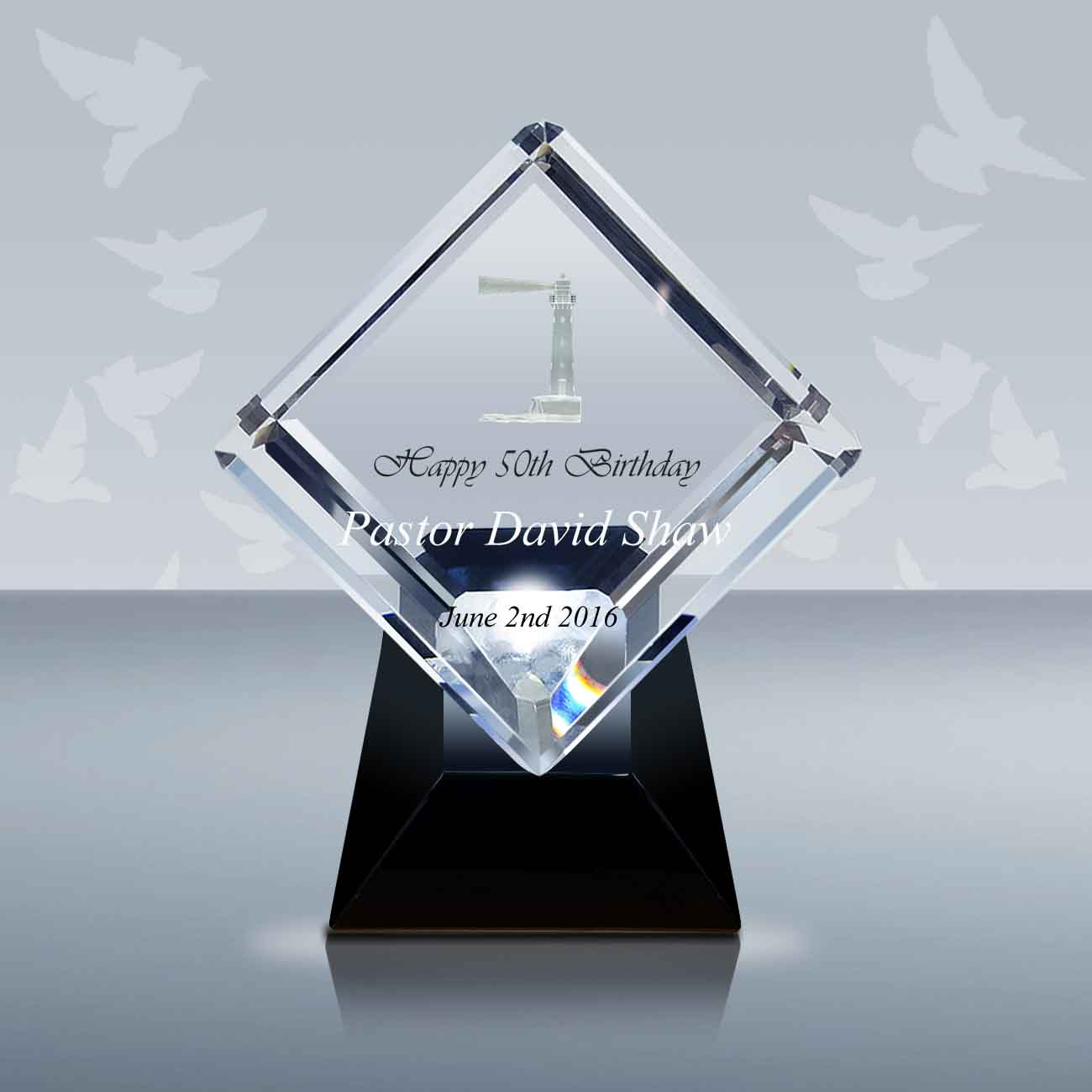 Crystal Grand Diamond Engraved Recognition Award Personalized  CGDM508