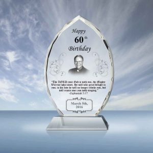 Pastor Birthday Gift Crystal Oval Plaque 042