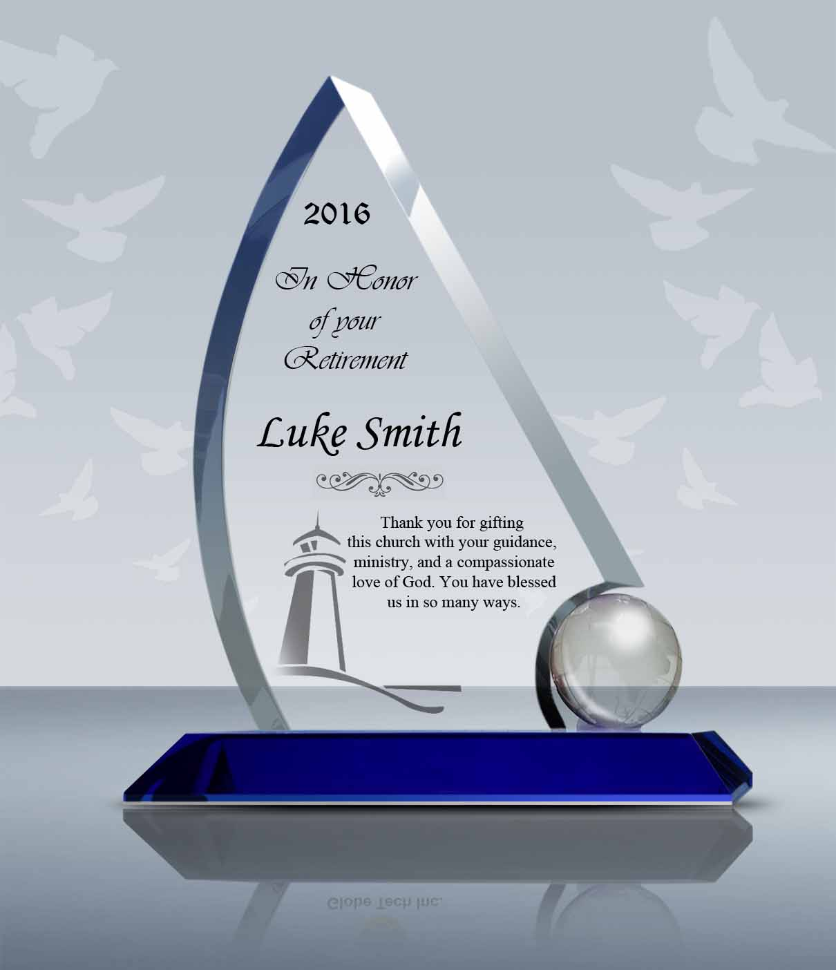 pastor retirement gift crystal sailing plaque 013 goodcount