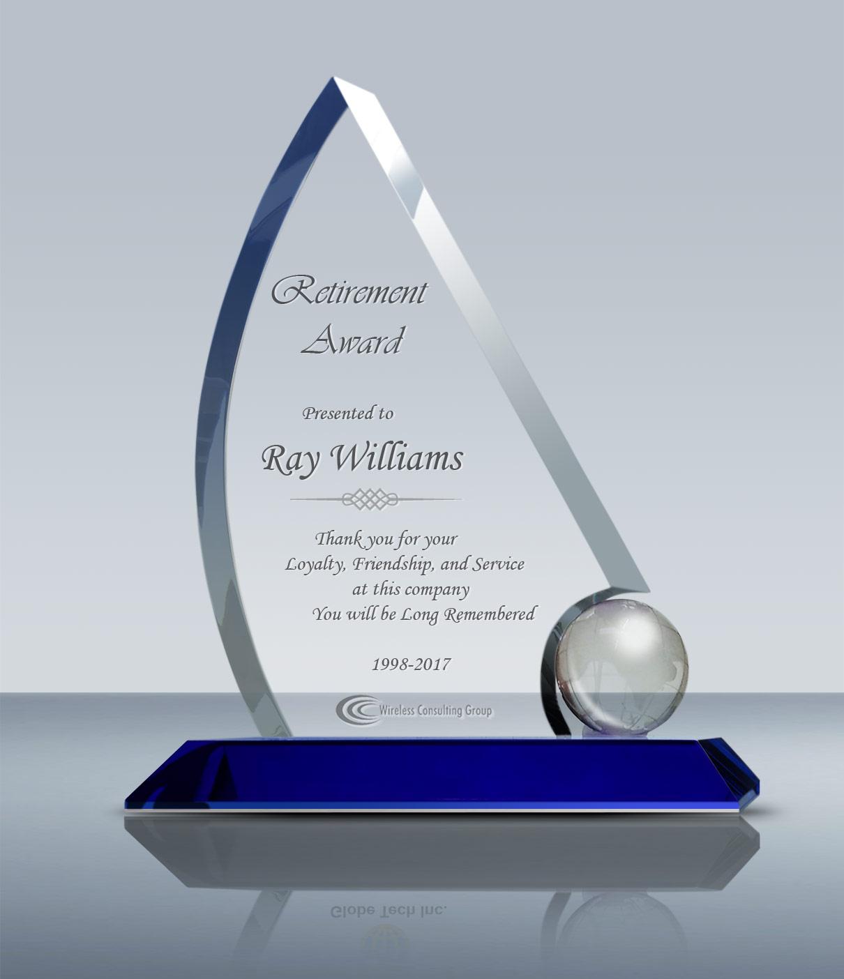 Unique Retirement Plaque Crystal Sailing Award 013