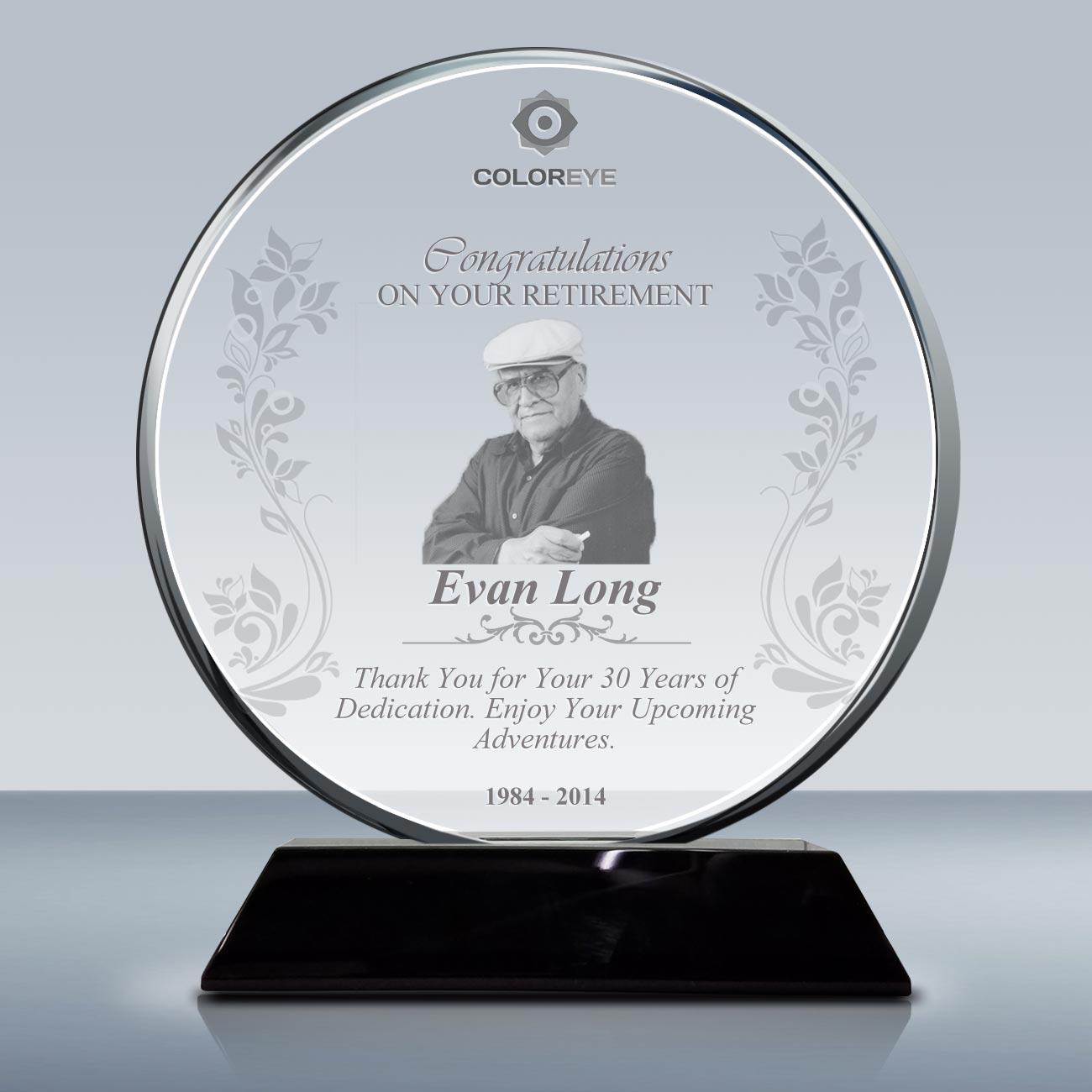 Retirement Plaque – Crystal Circle Award (016) – Goodcount ...