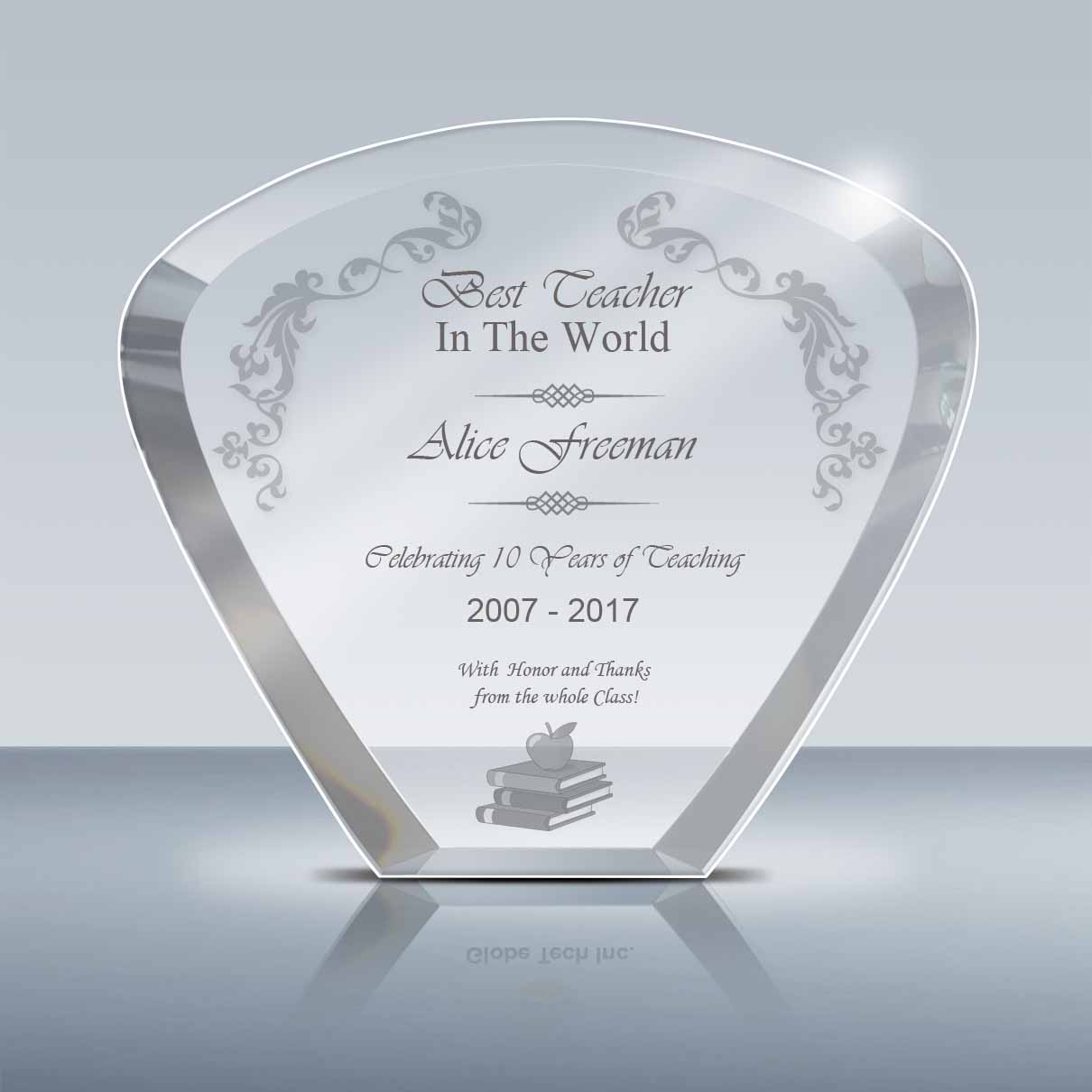 teacher appreciation gift  u2013 crystal moon plaque  009   u2013 goodcount awards  u2013 custom engraved