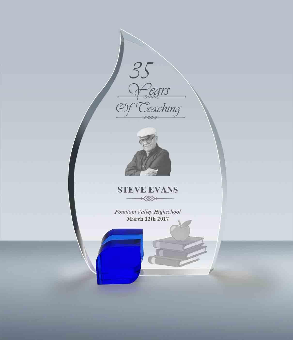 Teacher Retirement Gift Blue Flame Crystal Plaque 005