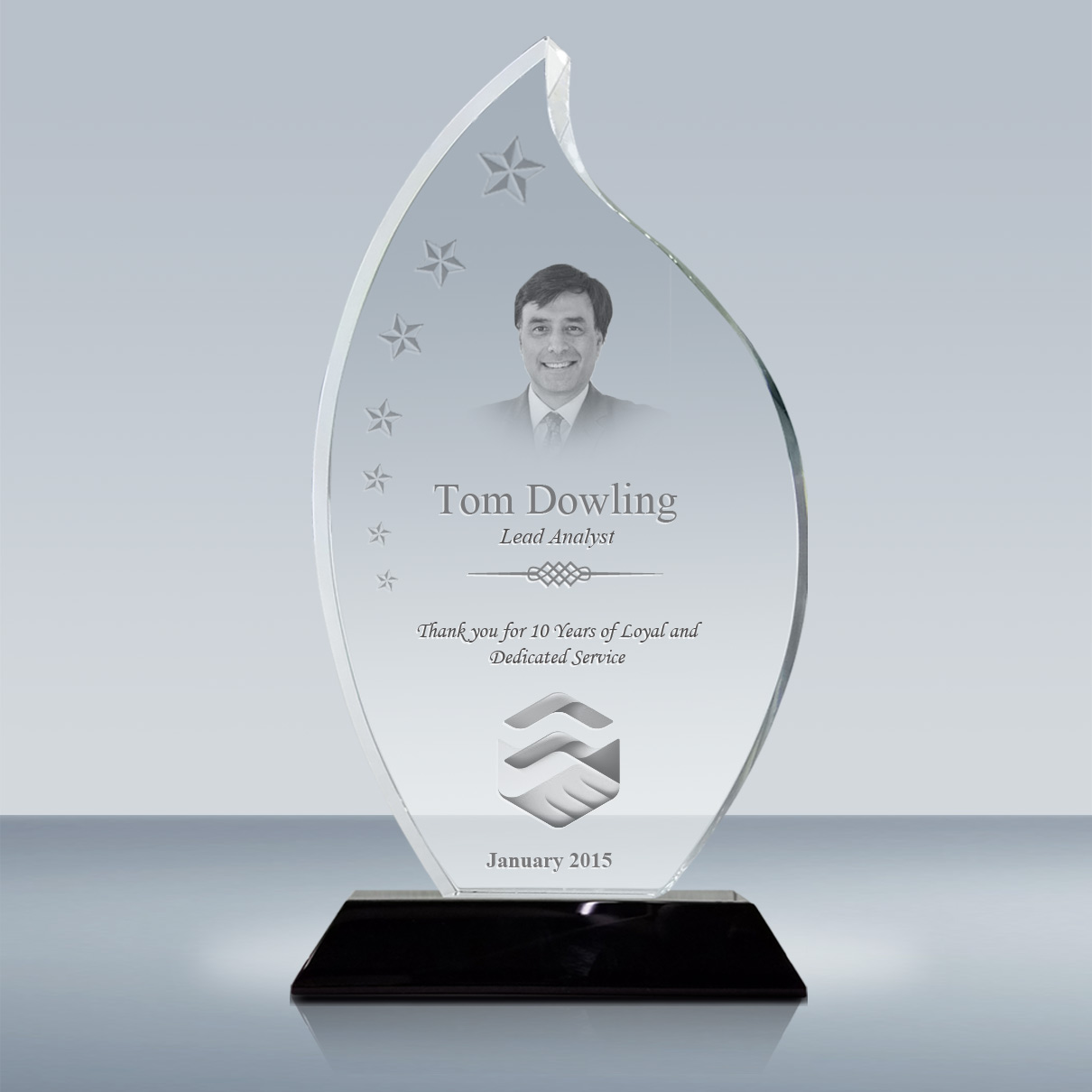 years of service award plaque  u2013 crystal flame award  008