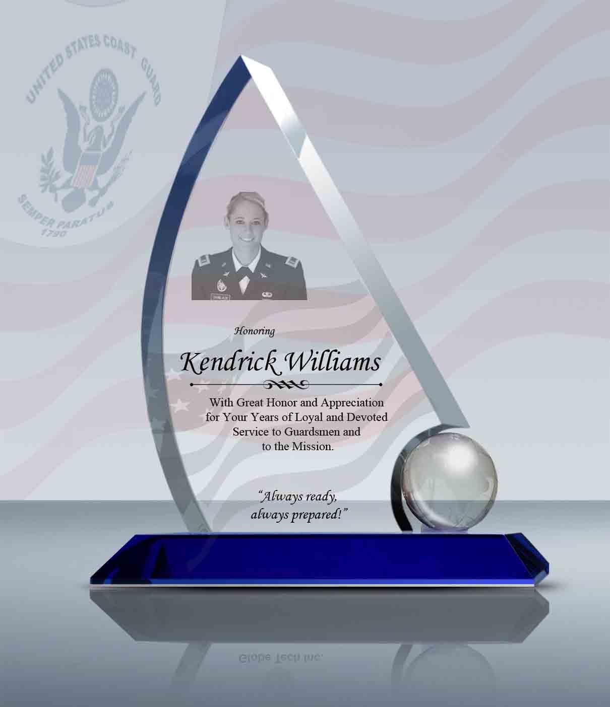 Coast Guard Gift – Crystal Sailing Award (013) – Goodcount