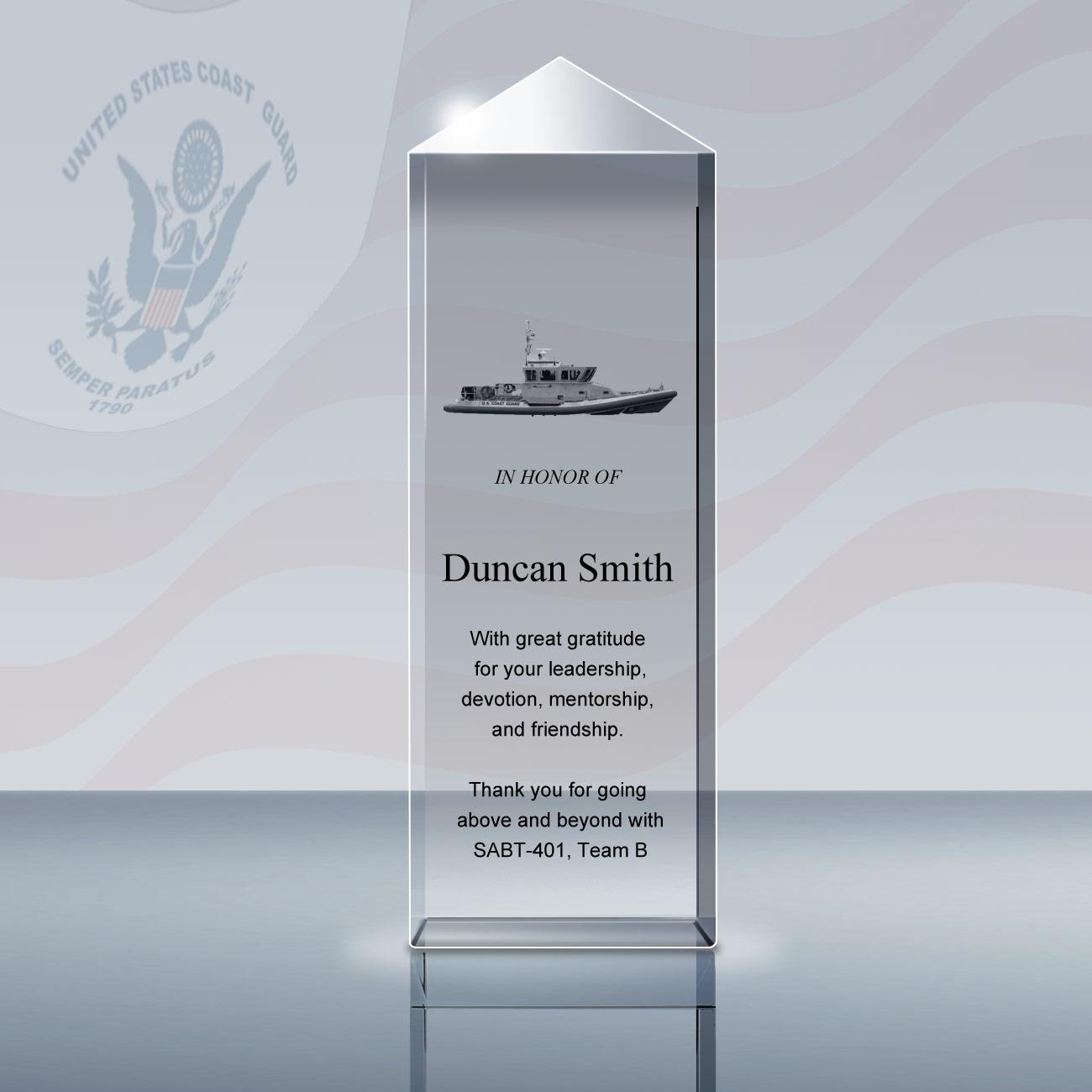 Coats Guard Gift – 3D Berkeley Crystal Award (034